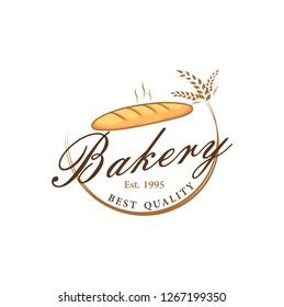 Baguette Bakery and Dessert Logo, Sign, Icon, Template, Emblem, Flat Vector Design