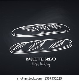 Baguette bread, chalkboard style. Outline vector icon for bakery shop or food design.