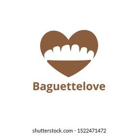 baguette bread inside heart shape for bakery business vector logo graphic design template