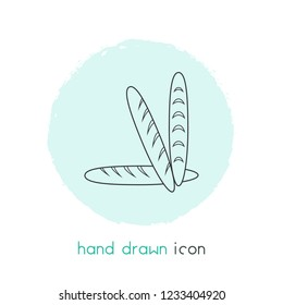 Baguette icon line element. Vector illustration of baguette icon line isolated on clean background for your web mobile app logo design.