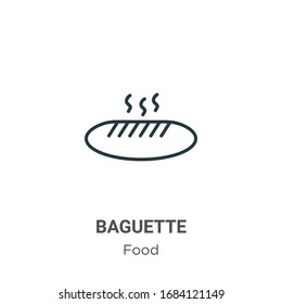 Baguette outline vector icon. Thin line black baguette icon, flat vector simple element illustration from editable food concept isolated stroke on white background