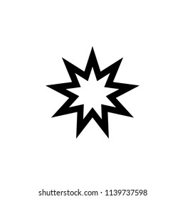 Baha Nine pointed star sign icon. Element of religion sign icon for mobile concept and web apps. Detailed Baha Nine pointed star icon can be used for web and mobile on white background