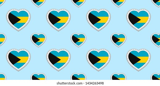 Bahamas flags background. Bahamian flag seamless pattern. Vector stickers. Love hearts symbols. Good choice for travel, patriotic, geographic, elements. patriotic wallpaper.
