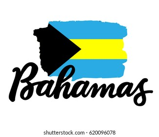 "Bahamas hand drawn ink brush lettering with the national flag of the country. Calligraphy word ""Bahamas"". Bahamas national symbol"