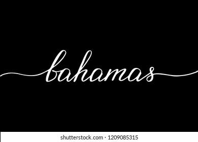 Bahamas handwritten text vector script