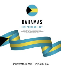 bahamas independence day vector template. Design for banner, greeting cards or print.