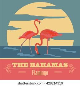 The Bahamas landmarks. Retro styled image. Vector illustration
