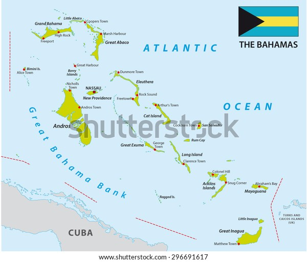 Bahamas Map Flag Arkistovektori Rojaltivapaa 296691617