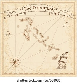 Bahamas old treasure map. Sepia engraved template of Bahamas treasure map. Stylized Bahamas treasure map on vintage torn paper.