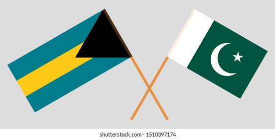 Bahamas and Pakistan. Crossed Bahamian and Pakistani flags