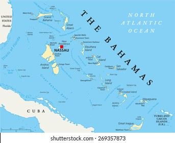 The Bahamas Political Map with capital Nassau, important cities and places. English labeling and scaling. Illustration.