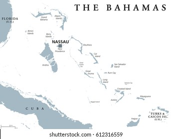 The Bahamas political map with capital Nassau. Commonwealth and archipelagic state within the Lucayan Archipelago in the Atlantic Ocean. Gray illustration on white background. English labeling. Vector