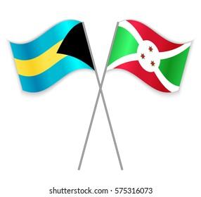Bahamian and Burundian crossed flags. Bahamas combined with Burundi isolated on white. Language learning, international business or travel concept.