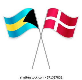 Bahamian and Danish crossed flags. Bahamas combined with Denmark isolated on white. Language learning, international business or travel concept.