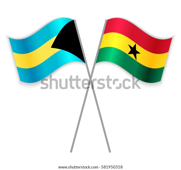Bahamian and Ghanaian crossed flags. Bahamas combined with Ghana isolated on white. Language learning, international business or travel concept.
