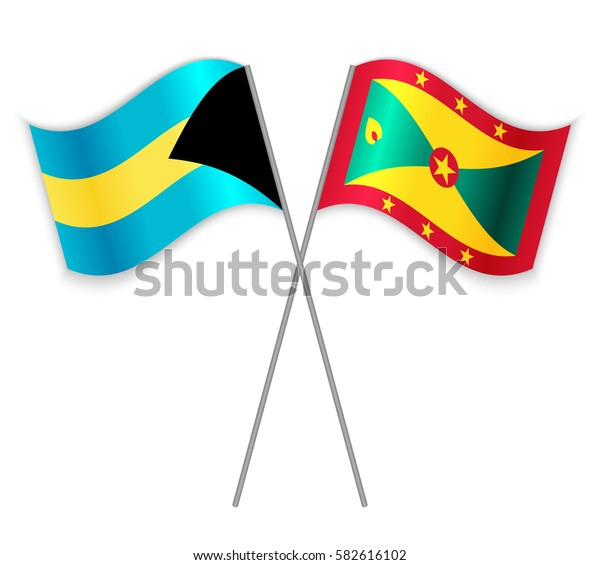 Bahamian and Grenadian crossed flags. Bahamas combined with Grenada isolated on white. Language learning, international business or travel concept.