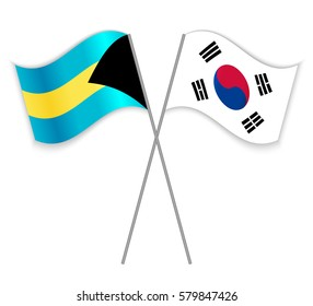 Bahamian and South Korean crossed flags. Bahamas combined with South Korea isolated on white. Language learning, international business or travel concept.
