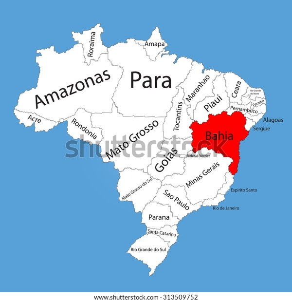 brasilien bahia karte Bahia Brazil Vector Map Isolated On Stock Vektorgrafik (Lizenzfrei