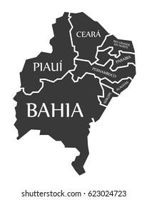 Bahia - Piaui - Ceara - Sergipe - Pernambuco and Alagoas Map Brazil illustration
