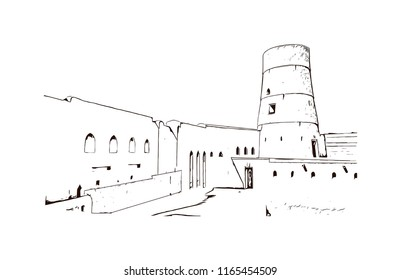 Bahla Fort is one of four historic fortresses situated at the foot of the Djebel Akhdar highlands in Oman. Hand drawn sketch illustration in vector.