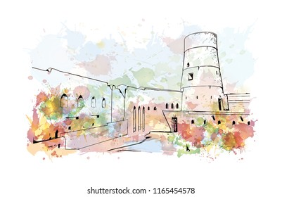 Bahla Fort is one of four historic fortresses situated at the foot of the Djebel Akhdar highlands in Oman. Watercolor splash with hand drawn sketch illustration in vector.