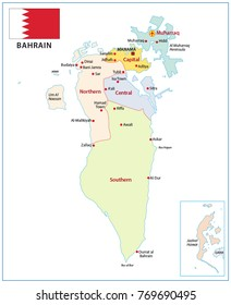 bahrain administrative and political vector map with flag