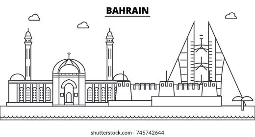 Bahrain architecture skyline buildings, silhouette, outline landscape, landmarks. Editable strokes. Urban skyline illustration. Flat design vector, line concept