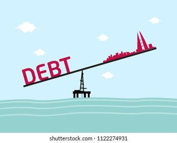 Bahrain balancing debt concept. Editable Clip Art.