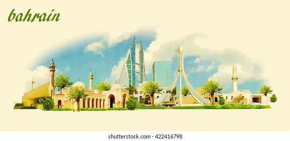 BAHRAIN city panoramic vector water color illustration