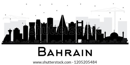 d47c752a2829 Bahrain City Skyline Silhouette with Black Buildings Isolated on White.  Vector Illustration. Business Travel
