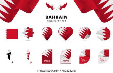 Bahrain complete set. Vector illustration.