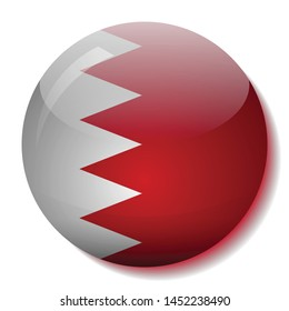 Bahrain flag glass button vector illustration
