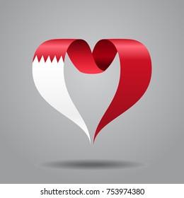 Bahrain flag heart-shaped wavy ribbon. Vector illustration.