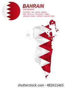 Bahrain flag overlay on Bahrain map with polygonal style.(EPS10 art vector)