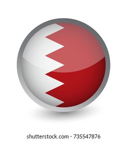 Bahrain Flag Round Glossy Icon. Vector illustration.