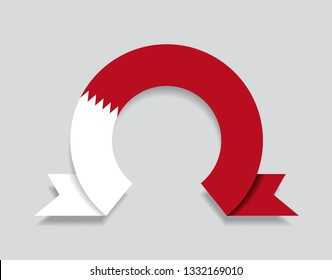 Bahrain flag rounded ribbon abstract background. Vector illustration.