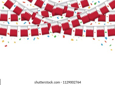 Bahrain flags garland white background with confetti, Hang bunting for Bahrain independence Day celebration template banner, Vector illustration