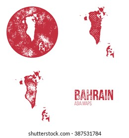 Bahrain Grunge Retro Maps - Asia - Three silhouettes Bahrain maps with different unique letterpress vector textures - Infographic and geography resource