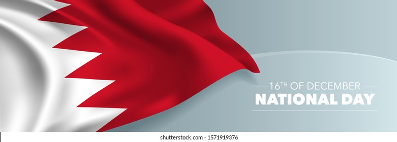 Bahrain happy national day vector banner, greeting card. Bahraini wavy flag in 16th of December national patriotic holiday horizontal design