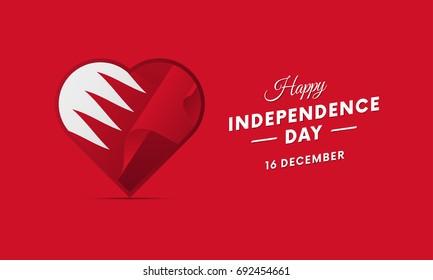 Bahrain Independence Day. 16 December. Waving flag in heart. Vector illustration.
