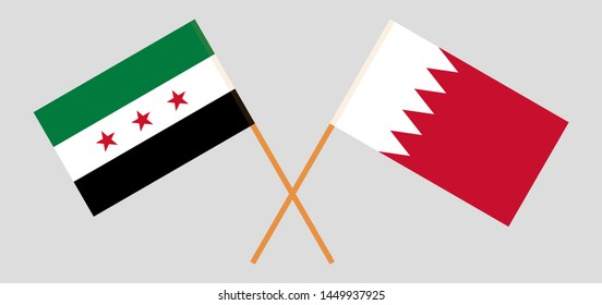 Bahrain and Interim Government of Syria. Crossed Bahraini and Coalition flags