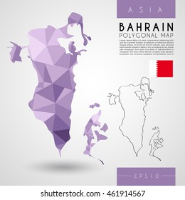 Bahrain : Low Poly Map : Vector Illustration