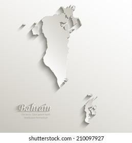 Bahrain map card paper 3D natural vector