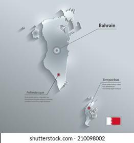 Bahrain map flag glass card paper 3D vector
