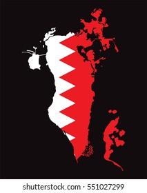 Bahrain Map with Flag Vector