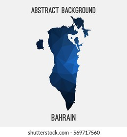 Bahrain map in geometric polygonal,mosaic style.Abstract tessellation,modern design background. Vector illustration