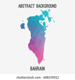 Bahrain map in geometric polygonal,mosaic style.Abstract tessellation,modern design background,low poly. Vector illustration.