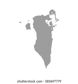 Bahrain map in gray on a white background