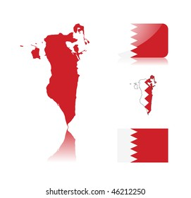 Bahrain map including: map with reflection, map in flag colors, glossy and normal flag of Bahrain.