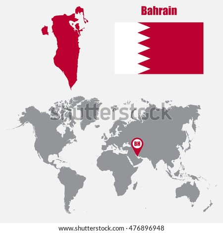 Bahrain Map On World Map Flag Stock Vector (Royalty Free) 476896948 ...